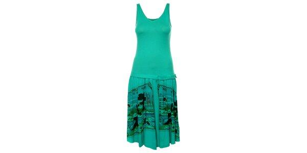 Dámské tyrkysové šaty Custo Barcelona s potiskem