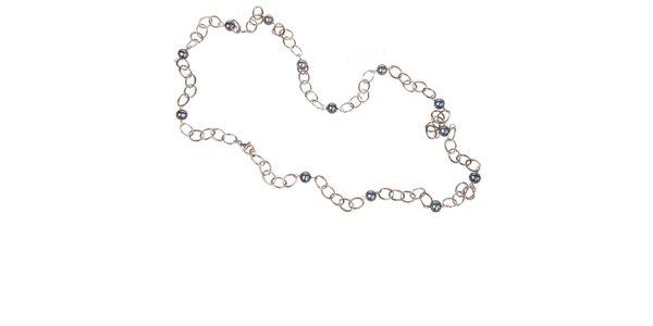 Dámský stříbrný náhrdelník Arla s modrými perlami