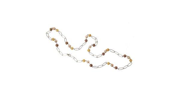 Dámský stříbrný náhrdelník Arla s barevnými perlami
