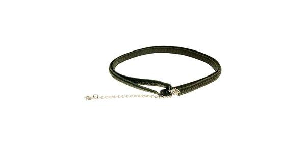 Dámský úzký černý kožený pásek Levi´s s řetízkem