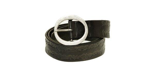 Dámský černý kožený pásek Levi´s s florálním vzorem