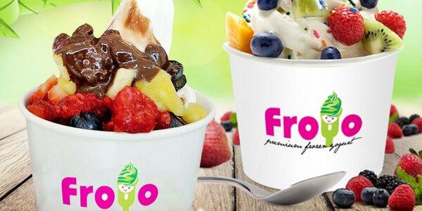 XXL frozen yogurt FroYo se 4 různými posypy