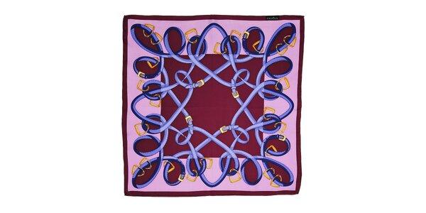 Fialovovínový hedvábný šátek Fraas s jezdeckým motivem