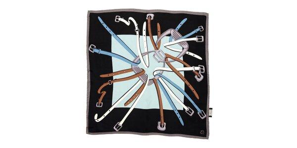 Modročerný hedvábný šátek Fraas s jezdeckým motivem