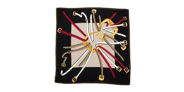 Tmavě hnědý hedvábný šátek Fraas s jezdeckým motivem