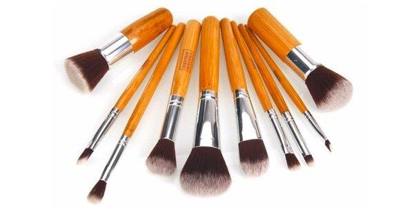 Přírodní bambusové make-up štětce (10 ks)