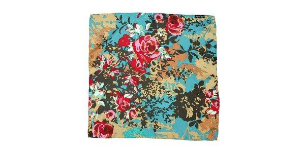 Pestrobarevný šátek Fraas s rozkvetlými růžemi