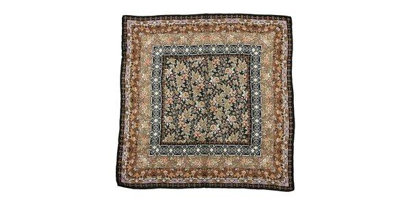 Tmavě hnědý hedvábný šátek Fraas se secesním vzorem