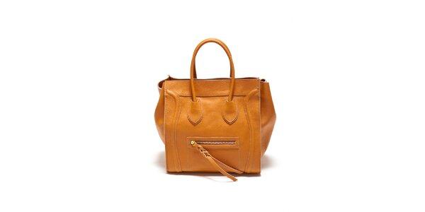 Dámská koňaková kabelka s copánkovým detailem Renata Corsi