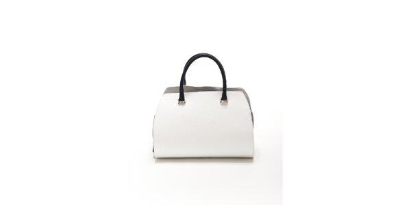 Dámská bílo-černá kožená kabelka Renata Corsi