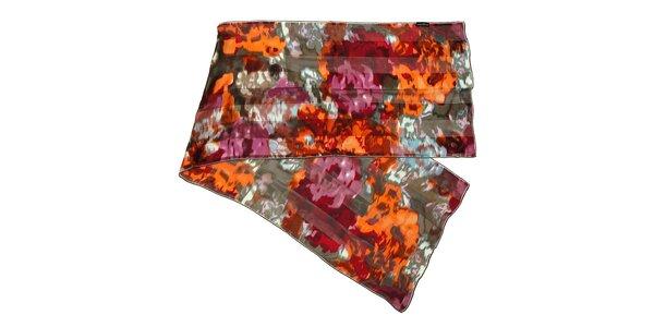 Hnědošedý hedvábný šál s abstraktním vzorem