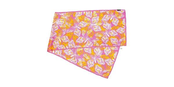 Růžový hedvábný šál Fraas s tropickými motýly