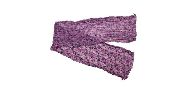 Fialkový polyesterový šál Fraas s motivem květin
