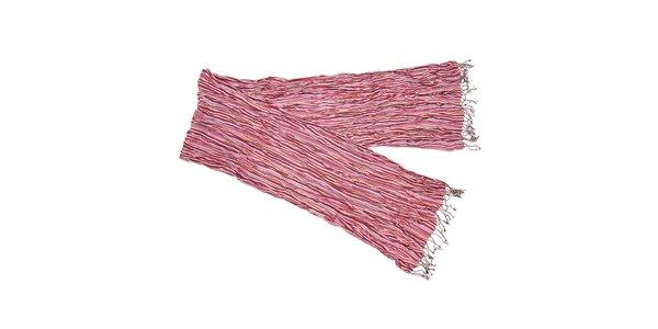 Růžový viskózový šál Fraas s proužky