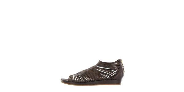 Dámské tmavě hnědé páskové sandály Flip Flop
