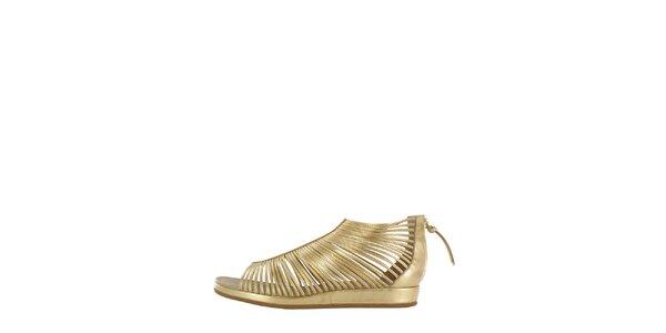 Dámské zlaté páskové sandály Flip Flop