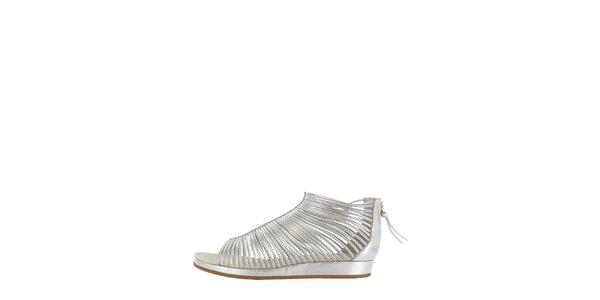 Dámské stříbrné páskové sandály Flip Flop