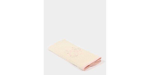 Dětská béžová deka s růžovým potiskem a růžovým lemem Naf Naf