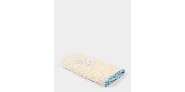 Dětská béžová deka s modrým potiskem a modrým lemem Naf Naf