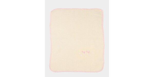 Dětská meruňová deka s růžovým lemem Naf Naf