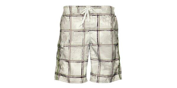 Pánské světle šedé koupací šortky Loap s kostkovaným vzorem