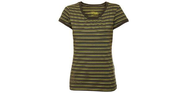 Dámské khaki tričko se žlutými proužky Loap