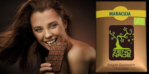 Hořká belgická bio čokoláda s příchutí maracuji