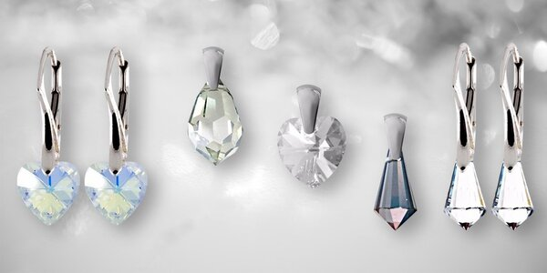 Stříbrné šperky s křišťálovými komponenty