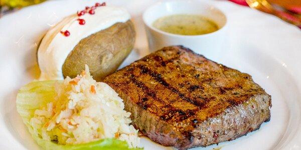 Uruguayský steak, tatarák a víno pro dva