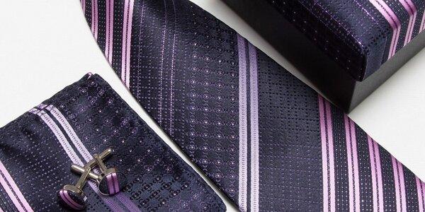 Set kravaty, manžetových knoflíčků, kapesníku