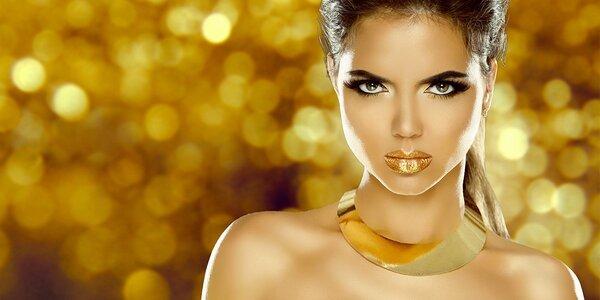 Kosmetické ošetření s částicemi ze zlata