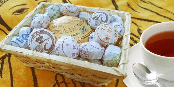 Košíček čaje Pu Er lisovaného do malých hnízd