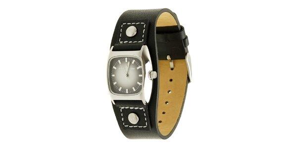 Dámské černé analogové hodinky s koženým řemínkem Tom Tailor