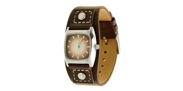 Dámské hnědé analogové hodinky s koženým řemínkem a vínovým ciferníkem Tom…