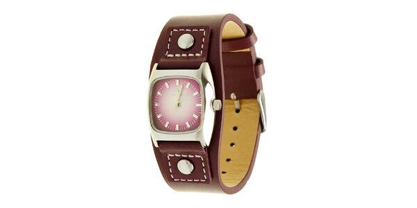 Dámské fialové analogové hodinky s koženým řemínkem Tom Tailor