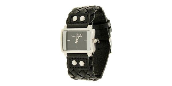 Dámské černé analogové hodinky s proplétaným řemínkem Tom Tailor