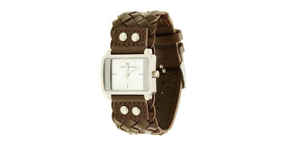Dámské hnědé analogové hodinky s proplétaným řemínkem Tom Tailor