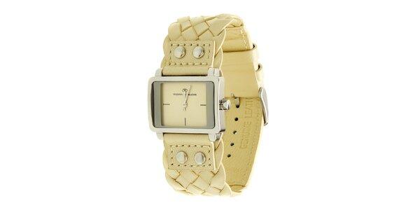 Dámské krémové analogové hodinky s proplétaným řemínkem Tom Tailor