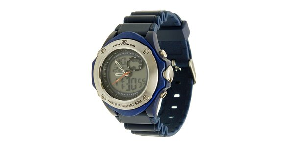 Modré hodinky s digitálním ciferníkem Tom Tailor