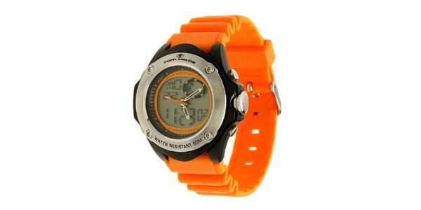 Oranžovo-černé hodinky s digitálním ciferníkem Tom Tailor