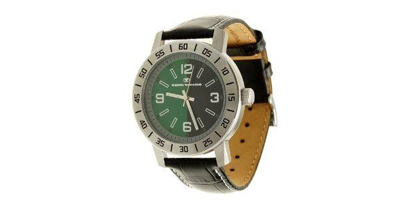 Ocelové analogové unisexové hodinky se zeleno-černým ciferníkem Tom Tailor