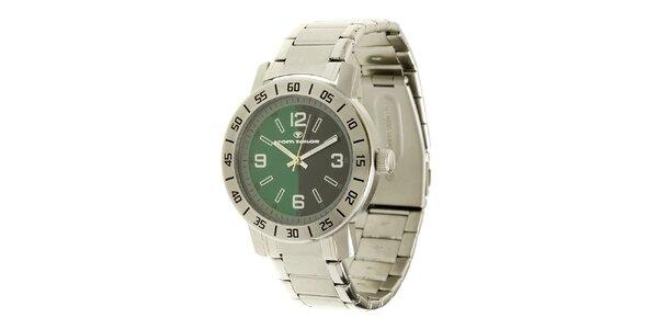 Ocelové analogové unisexové hodinky se zeleným ciferníkem Tom Tailor