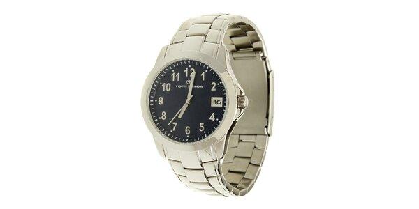 Stříbrno-modré analogové hodinky Tom Tailor