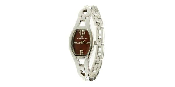 Dámské stříbrné náramkové hodinky s vínovým ciferníkem Tom Tailor