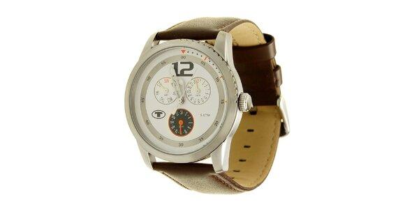 Hnědé analogové hodinky s výrazným analogovým ciferníkem Tom Tailor