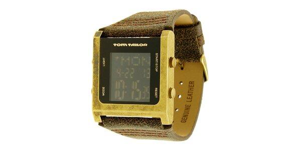 Pánské hnědo-zlaté hodinky s digitálním ciferníkem Tom Tailor