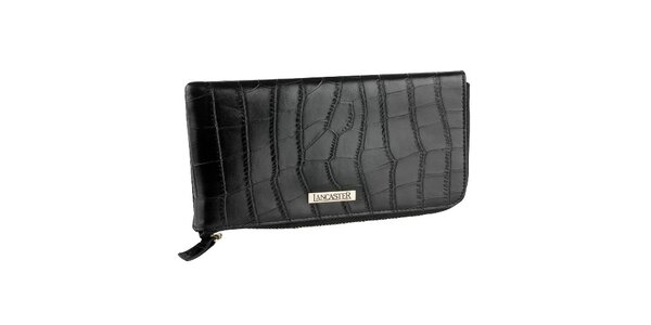 Černá kožená peněženka Lancaster se zlatým zipem