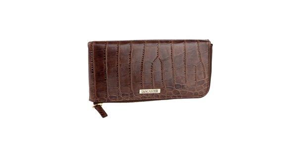 Hnědá kožená peněženka Lancaster se zlatým zipem