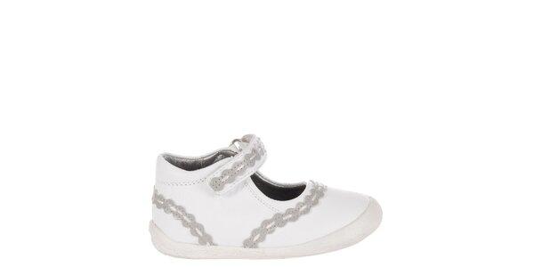 Dětské bílé kožené botičky Billowy s šedým zdobením