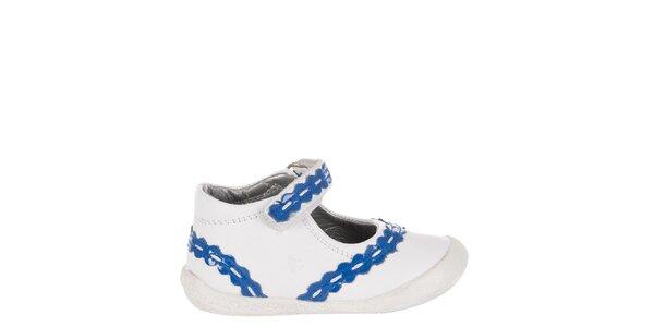 Dětské bílé kožené botičky Billowy s modrým zdobením